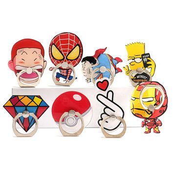 360 Rotating Phone Finger Ring Holders Superman Ironman Diamond Pop Mobile Smartphone Stand Holder For iphone X Pop Holder Stand