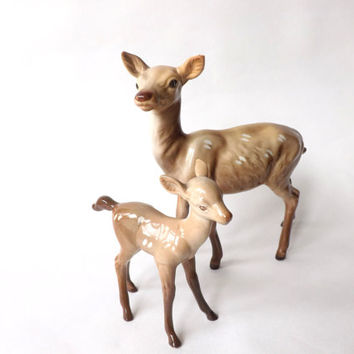 Beswick Fawn and Beswick Deer Figurine, Doe Figure Model No 999A, Vintage Animal Figure, Woodland Ornament, Bambi & Mom