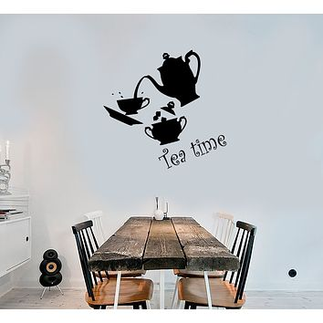 Vinyl Wall Decal Tea Time Set Kitchen Decor Cup And Teapot Stickers (3860ig)