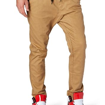 Khaki Faux Leather Trim Twill Jogger