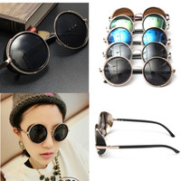 Mirror Lens Round Glasses Cyber Goggles Steampunk Sunglasses Vintage Retro Style
