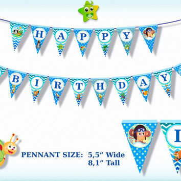 Baby TV Printable Happy Birthday Banner - Party Decorations, Printable Banner, Printable Party Banner, Digital File - INSTANT DOWNLOAD