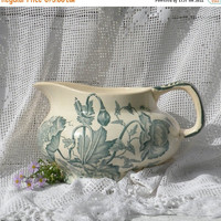 ON SALE French antique ironstone jug pitcher, French ironstone, transferware, French vintage, country home, cottage, shabby chic, country ki