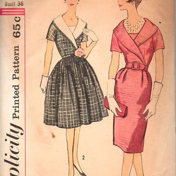 Simplicity 60s Sewing Pattern 3886 Garden Party Tea Dress Full Circle Wiggle Skirt Shawl Collar Rockabilly Style Bust 36