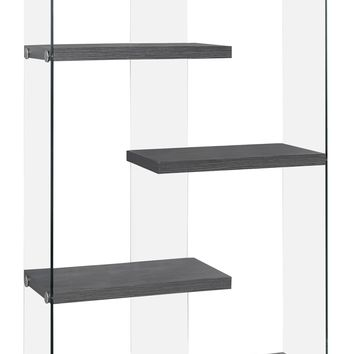 """Bookcase - 60""""H / Grey With Tempered Glass"""