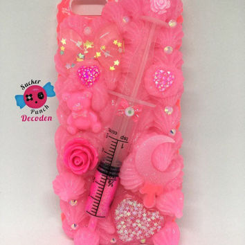 menhera decoden case, fairy kei, decoden phone case, iphone 6 case, whip phone case, iphone 6s case, decoden case, kawaii, glitter syringe