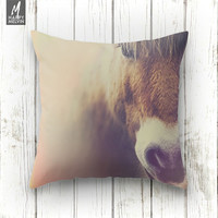 The curious girl, horse, throw pillow, throws, horse pillow, beautiful horse, wild, nature throw pillow, animal decor, decor, cute photo.