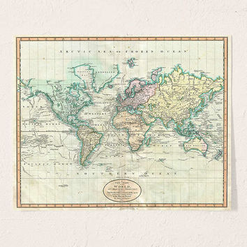 Adam Shaw Vintage World Map (1801) Art Print | Urban Outfitters