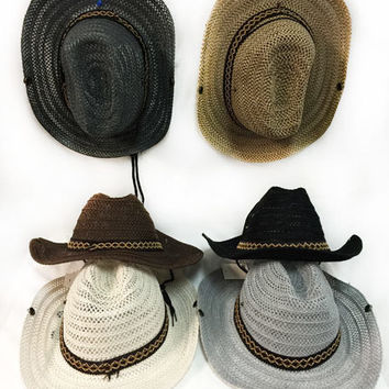 mesh cowboy hat with braided hat band Case of 48