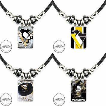 Pittsburgh Penguins Nhl Team Logo Vintage Black Leather Bead Pendant Jewelry Glass Cabochon Choker Necklace For Girls Best Gift