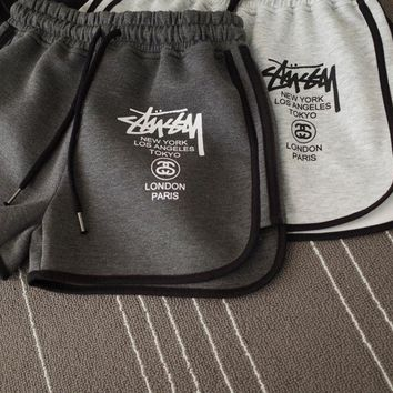 The New Trendy Stussy Letter Printed Sports Shorts Pants [2974244244]