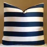 Decorative striped navy and white pillow cover, 18x18