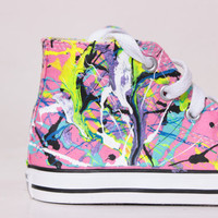 Toddler Pink High Top Splatter Painted Converse Sneakers Toddler Size 9, Neon Sign Colors