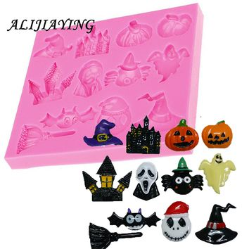 1Pcs Halloween Silicone Mold Cake Decorating Tools Hat Pumpkin Witch ghost Pastry Baking Polymer Clay Kitchen Bakeware D0482
