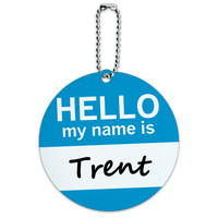 Trent Hello My Name Is Round ID Card Luggage Tag