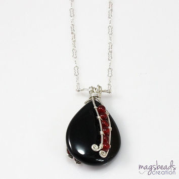 Wire Wrap Gemstone Pendant with Carnelian & Black Onyx and Sterling Silver Chain