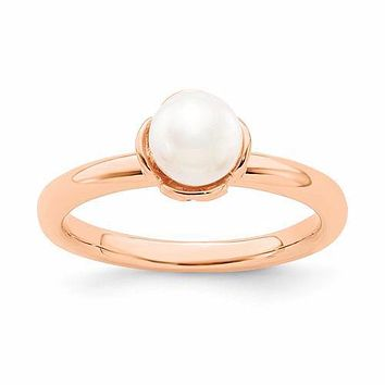Sterling Silver Stack Expressions White FW Cultured Pearl Rose Gold Ring