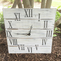 "White distressed clock | rustic roman numeral clock | rustic home decor | 17"" clock"