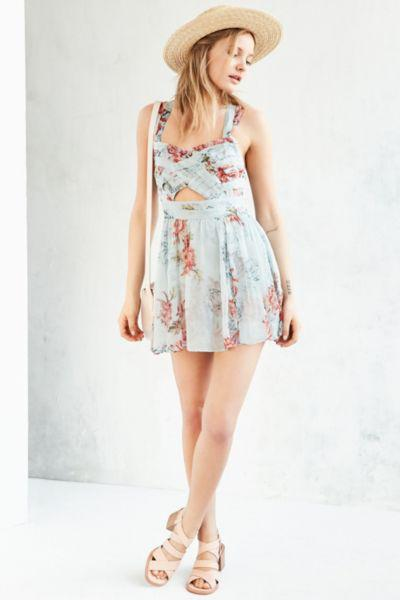 eba9b9372fb3 Kimchi Blue Watercolor Cross-Front Romper from Urban Outfitters