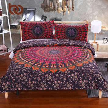 BeddingOutlet Mandala Bedding Concealed Bedspread Duvet Cover Set 2Pcs or 3Pcs Boho Bedlinen Twin Full Queen King New