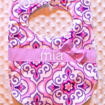 Personalized Bib with Matching Bow - Baby Girl Purple and Fuchsia Medallions