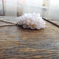 Lilac pendant, lilac jewelry, lilac flower, lilac necklace, white lilac jewelry, polymer clay pendant, lilac flower pendant, white pendant