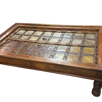 Antique Coffee Table Rustic Doors Coffee Table - Boho Eclectic Inspired Indian Furniture