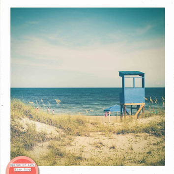 Square beach digital download, ocean fine art photography summer printable, lifeguard stand, vintage, travel, sand dune, wall art home decor