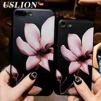 Fashion 3D White Flower Paint Phone Case For iPhone 7