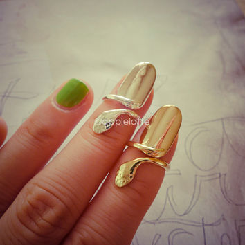 funky bling nail ring, above knuckle ring in gold or silver