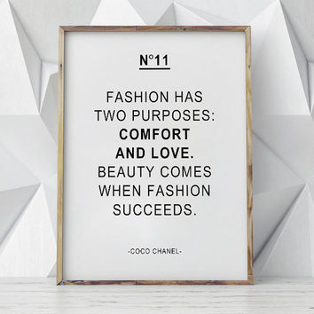 Coco Chanel Quote Print, Motivational Wall decor, Motivational Poster,Comfort And Love,Motivational Quotes,Motivational Print,Fashion Poster