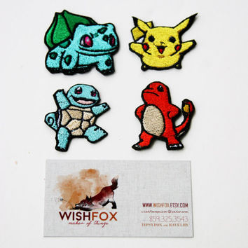 "Iron-On Pokemon Patches, Machine Embroidered, 2"" small size pikachu bulbasaur charmander squirtle gen1 starters, MSD SD BJD"