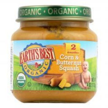 Organic Corn and Butternut Squash Baby Food - Stage 2 - Case of 12 - 4 oz.