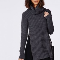 Missguided - Kerena Extreme Side Split Roll Neck Sweater Charcoal
