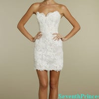 Lace Reception Dress Sheath Sweetheart Mini by seventhprincess