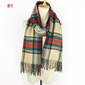 Za Classical Design Spring Autumn Winter women plaid Cashmere Pashmina Scarf Tartan Long Tassel Shawl Blanket Wrap Shawls Stole