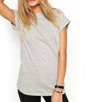 All-match T-shirt With Rolled Cuff Sleeve - US$13.95 -YOINS