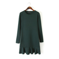 Winter Women's Fashion Ruffle Slim Long Sleeve Dress One Piece Dress [4917843140]