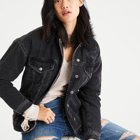 AE Faux-Fur Collar Destroyed Denim Jacket, Black