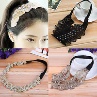 High New Women Girls Lace Pearl Hairband Rhinestone Headband Crystal Head Piece