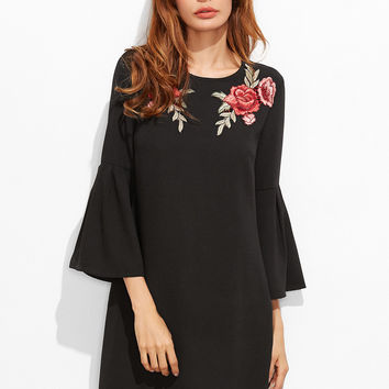 Black Embroidered Rose Bell Sleeve Tunic Dress