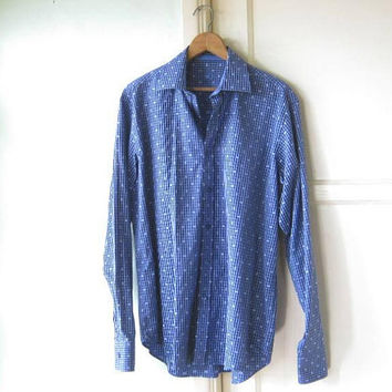 Gorgeous French Blue Print Shirt; Men's Medium Gingham-Influenced Blue Long-Sleeve Cotton Shirt; '90s Vintage Bugatchi for Dates/Work/Social