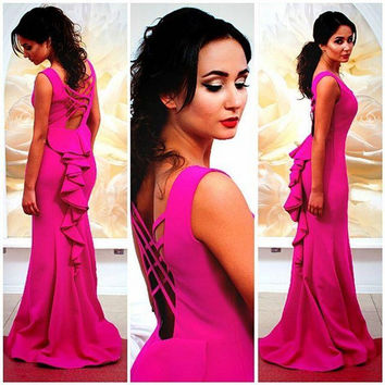 2016 Cheap Fuchsia Mermaid Prom Dresses Sheer Neckline Arabic backless Evening dresses Custom Made robe de soiree