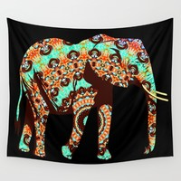 Spiced Elephant Wall Tapestry by Inspired Images