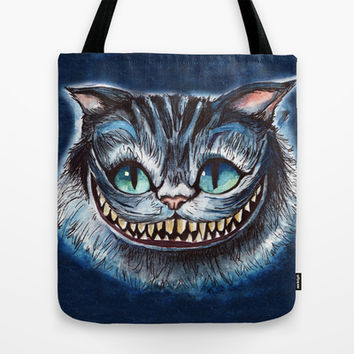 Cheshire Cat Tote Bag by hannahclairehughes
