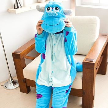Wedtrend Cute Elephant Sullivan Unisex Flannel Hoodie Pajamas Costumes Nightgowns Animal Onesuits Sleepwear For Adults Women Men