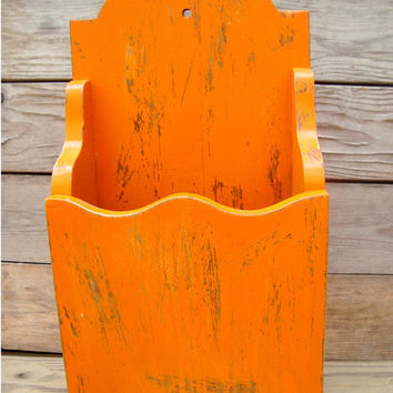 Orange Painted Wooden Shelf, Mail Holder, Shabby Chic Wall Hanging, Magazine Holder, Fall, September Collection, Vibrant Orange Wooden Shelf