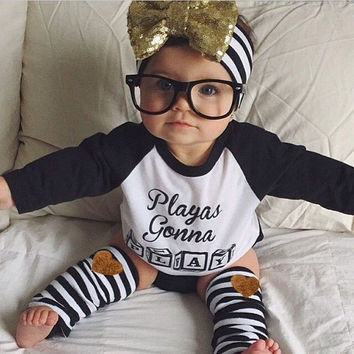 Newborn Baby Boys Girls Toddler Kids T-shirt Tops+ Leggings Outfit Clothes Sets = 5618788033