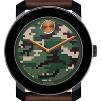 Men's Movado 'Bold' Camouflage Dial Leather Strap Watch, 42mm