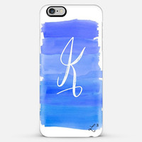Blue White Brush Strokes Custom Slim Phone Case with Initial